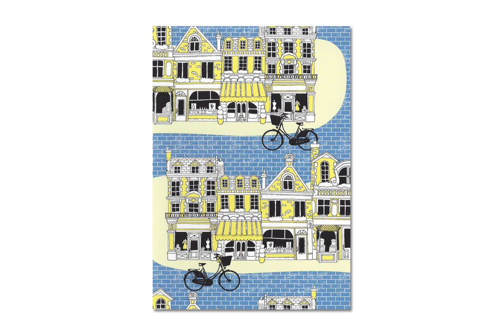 Blue Brick Road Bicycle Greeting Card