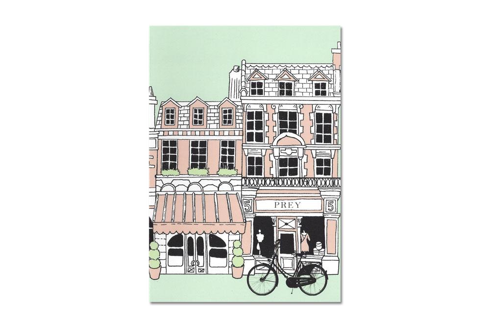 Buildings Bike Pink Bicycle Greeting Card