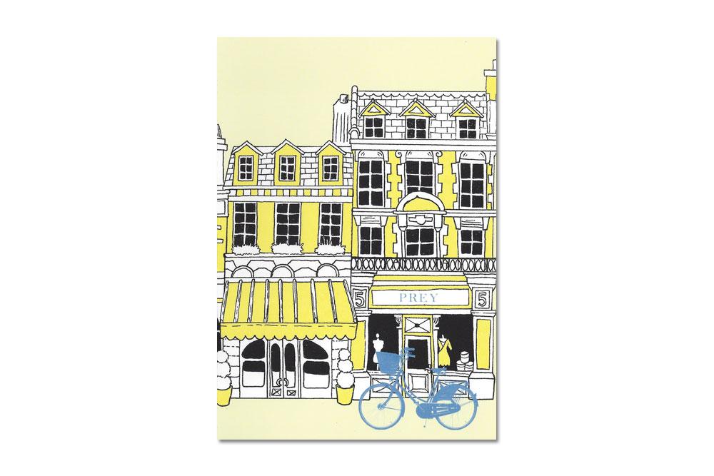 Buildings Bike Yellow Bicycle Greeting Card
