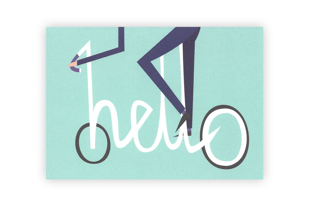Hello Velo Bicycle Greeting Card – Rebecca J Kaye