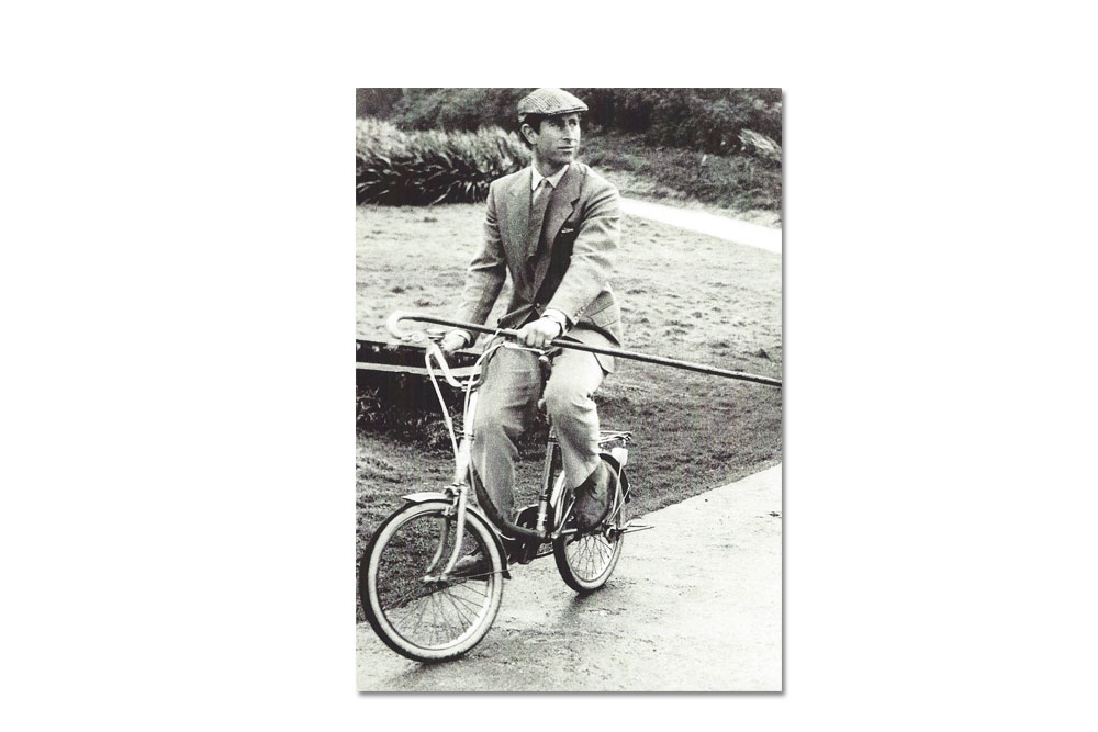 Prince Charles Riding Bicycle Greeting Card
