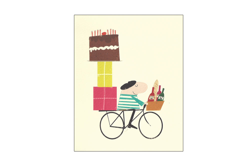 French Man Bicycle Greeting Card