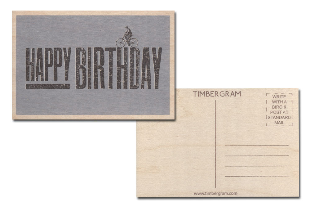 Happy Birthday Bicycle Timbergram Card
