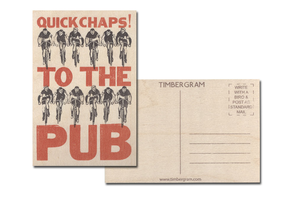 Quick Chaps to the Pub Bicycle Timbergram Card