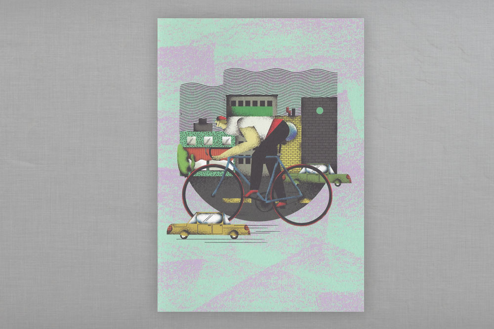 City Cyclist Greeting Card