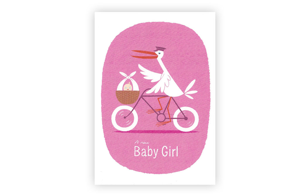 A New Baby Girl Bicycle Greeting Card