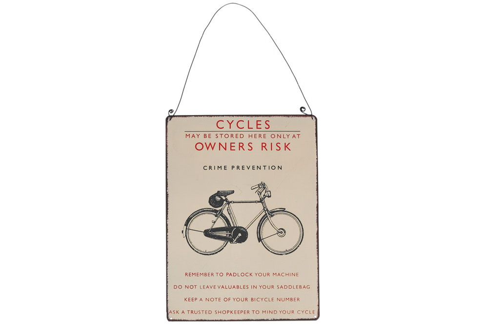 Padlock your Machine Metal Bicycle Sign