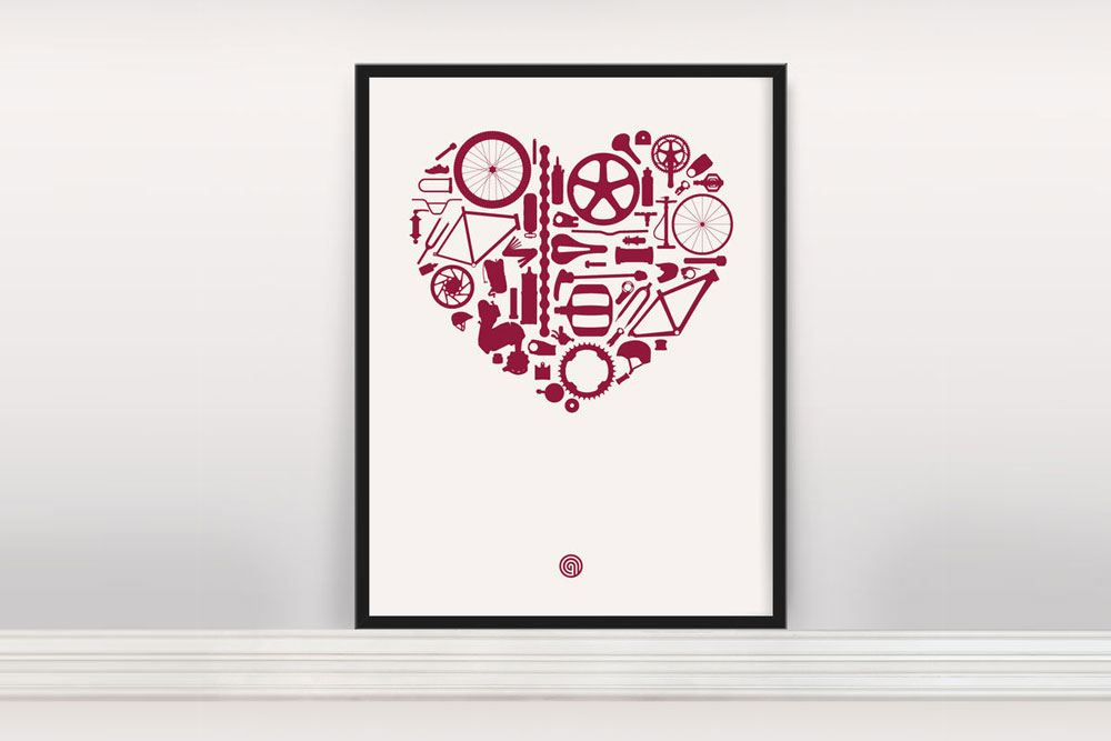 Bike Love Bicycle Print by Anthony Oram