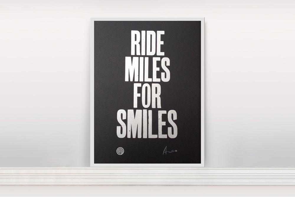 Ride Miles for Smiles Bicycle Print by Anthony Oram