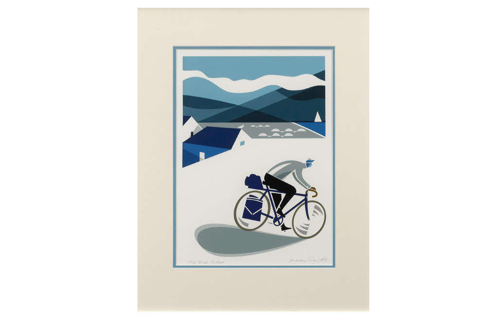 The Blue Rider Cycling Print by Andrew Pavitt