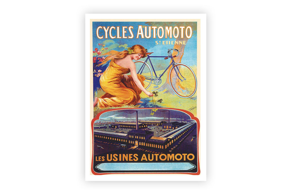 Cycles Automoto Vintage Cycling Print