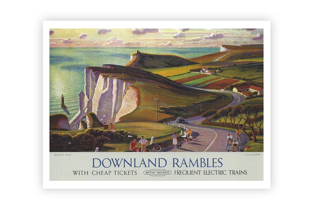 Downland Rambles Vintage Cycling Print