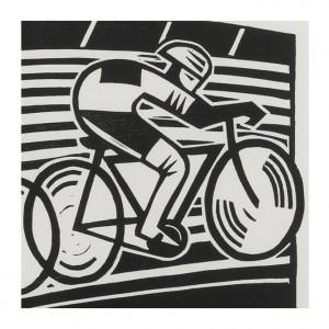 Velodrome Cycling Print by Hugh Ribbans