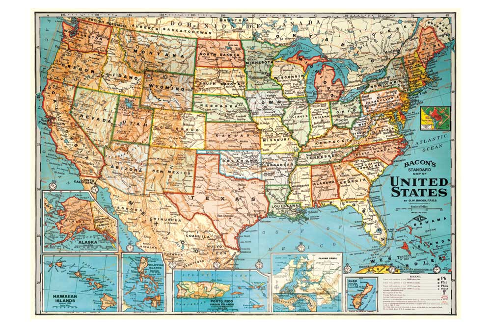Map of the United States Wrapping Paper