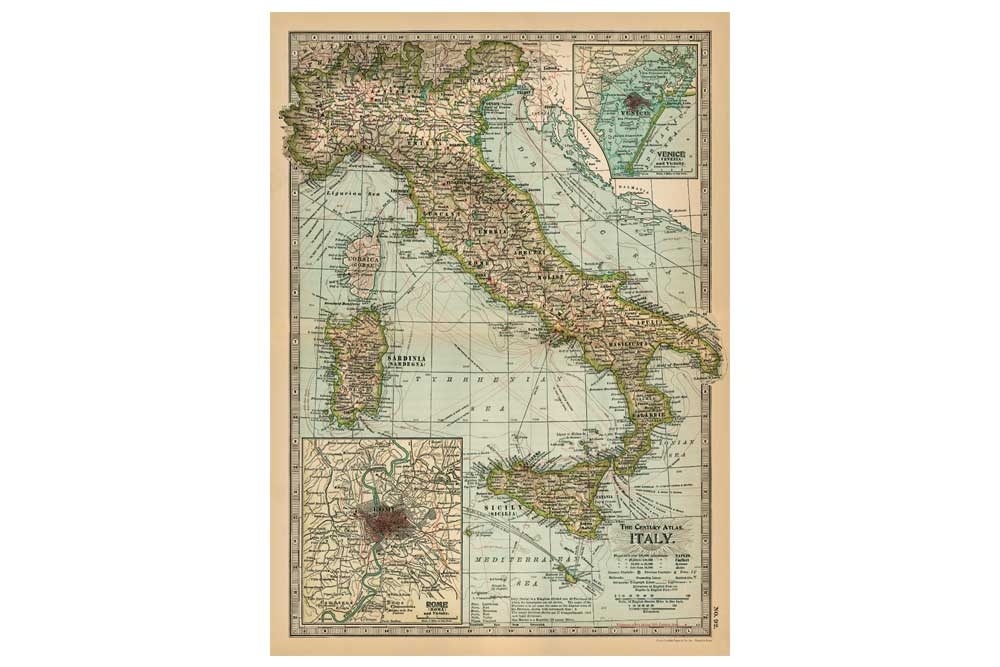 Map of Italy Poster Paper