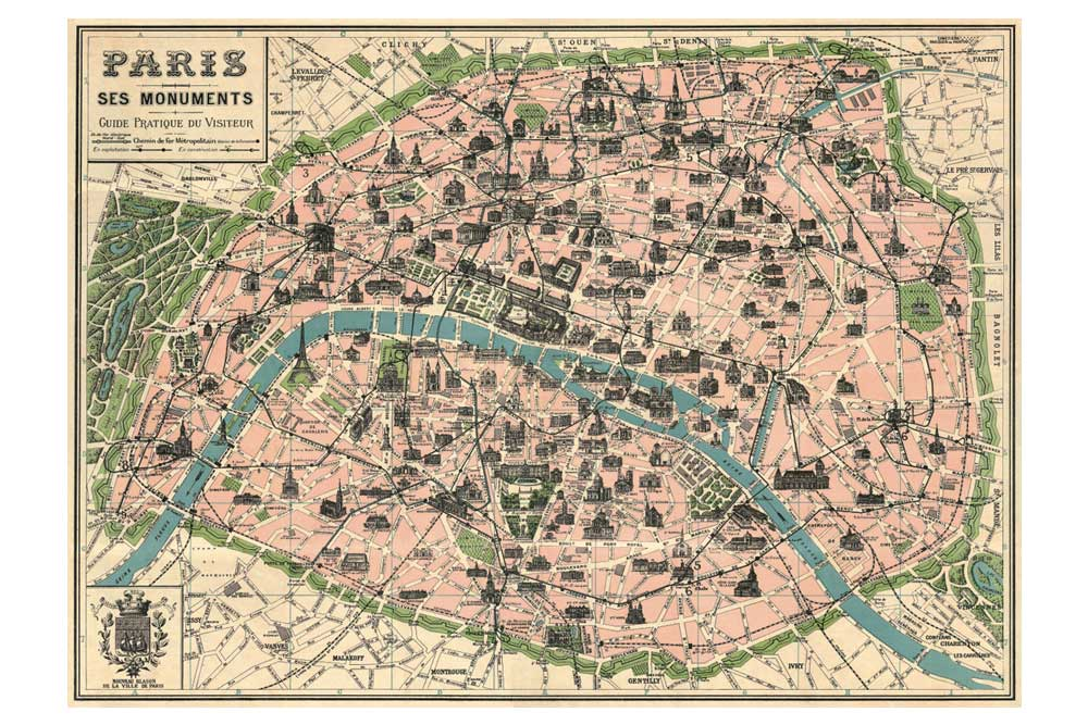 Map of Paris Wrapping Paper
