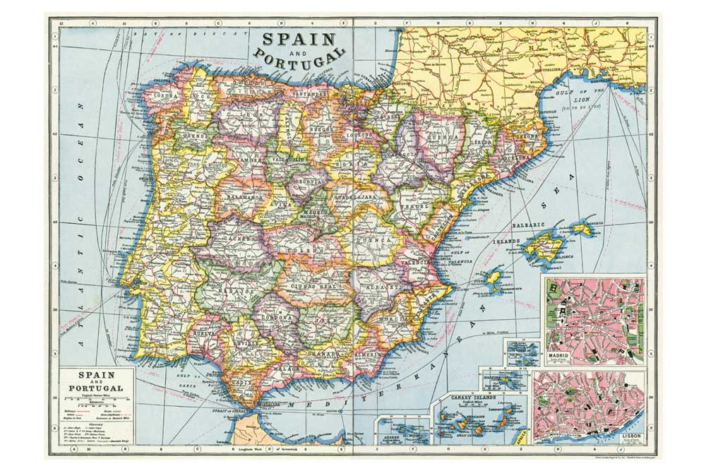 Printable Map Of Spain.Map Of Spain Wrapping Paper Cyclemiles