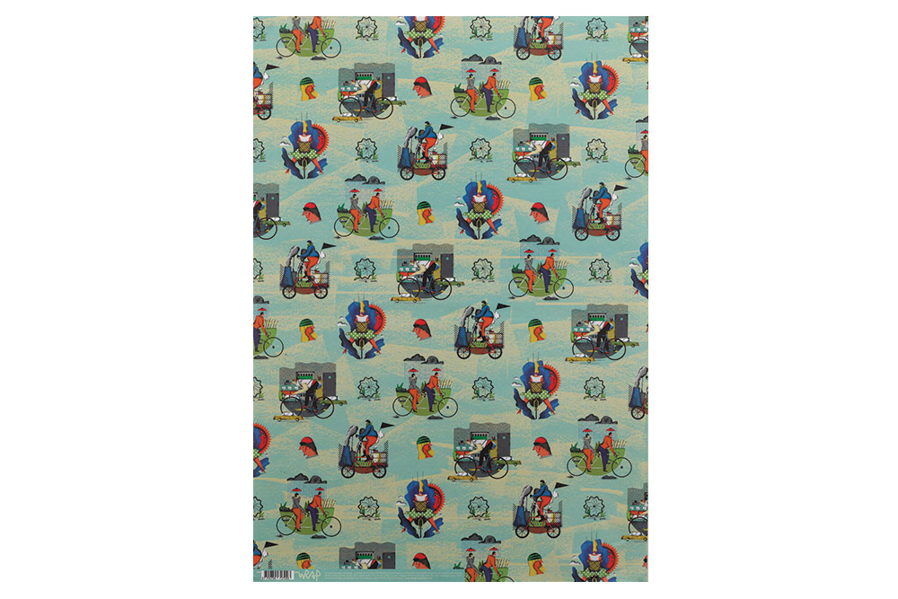 City Cyclist Wrapping Paper